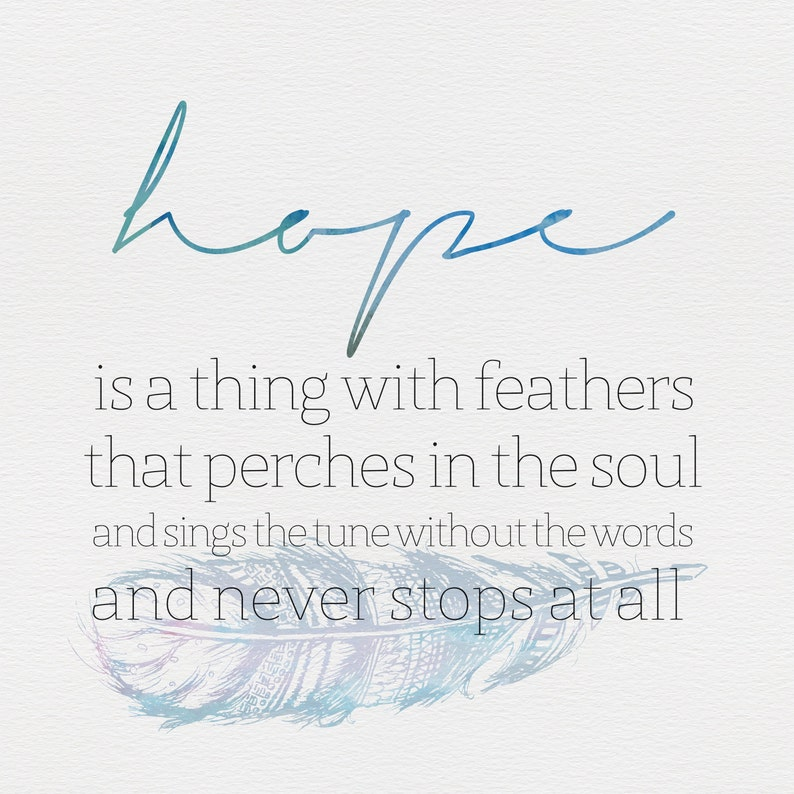 Emily Dickinson Hope Quote Print Instant Download Etsy