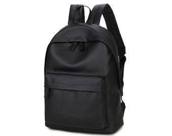 Basic Synthetic Leather Backpack (Black)