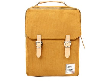 Cotton Square Backpack (Mustard)