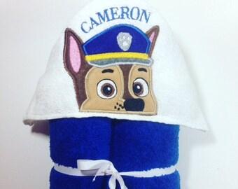 Paw Patrol Hooded Bath Towel, Chase Hooded Towel, Police Dog, Bathtime, Paw Patrol Peeker, Birthday Gift, Baby Shower, Paw Patrol Chase, Dog