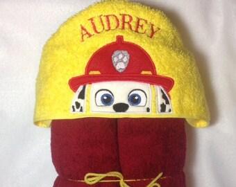 Marshall Hooded Bath Towel, Kids Hooded Towel, Paw Patrol Peeker, Birthday, Marshall, Firefighter Towel, Personalized Kids Towel, Fire Dog