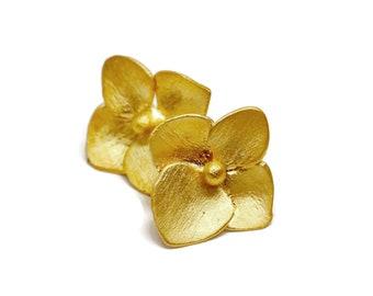 14k Hydrangea Stud Earrings  Small Flower Studs, Solid Gold Post Earring , ARTISAN HANDMADE by Sheri Beryl