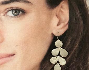 Long Silver Teardrop Chandelier Earrings  Statement Drops  Artisan Handmade by Sheri Beryl