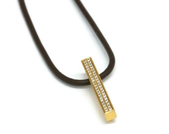 14K  Bar Necklace Solid Gold  Pave Diamond Stick Pendant Brown Leather Cord  Artisan Handmade by Sheri Beryl