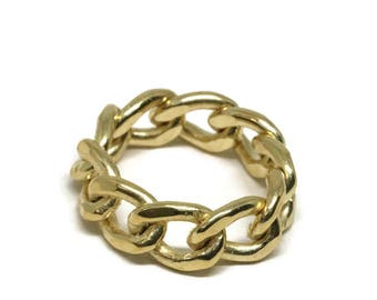 Gold  Chain Ring, Vermeil  Curb Chain Link Stack Rings.Stackable  Artisan Handmade  by Sheri Beyrl