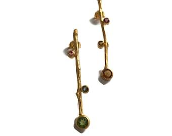 Gold Stick Earrings, Multi Color Tourmaline Twig Branch Post Earring Vermeil Matte Finish  Artisan Handmade by Sheri Beryl