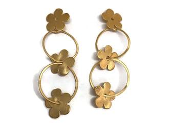 Large Gold Hoop Post Earrings Boho  Multi Ring Flower Hoops  Artisan Handmade by Sheri Beryl