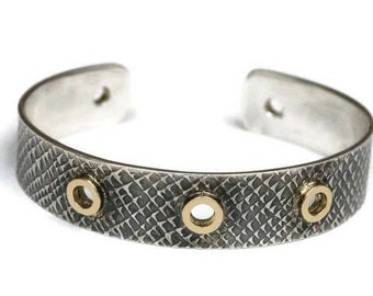 Oxidized Silver Cuff Snakeskin Textured Silver Stackable Bracelet Gold Riveted Cuff Artisan Handmade by Sheri Beryl