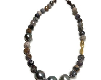 Black Tahitian Pearl and Leather Necklace With Faceted Nevada Sage Amethyst Beads with 18K Gold Bead Artisan Handmade By Sheri Beryl
