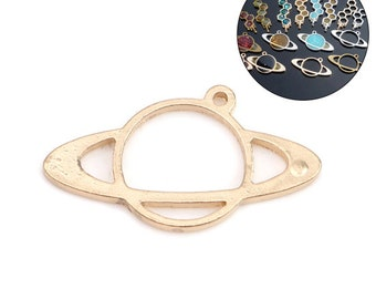 2pc Gold Plated Saturn Planet Pendant - 38x21mm - Galaxy DIY Necklace, Open Bezel Jewelry Making Supplies Finding, Ships from USA - O9