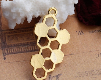 2pc Gold Plated Honeycomb Charms - 32x17mm - Bees, Honey Comb, Necklace, Jewelry Making Supplies, Jewelry Finding, Ships from USA - N44