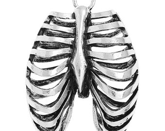 1pc Antique Silver 3D Rib Cage Pendant - 40x31mm - Jewelry Finding, Human Bone, Body Part, Morbid, Making Supplies, Ships from USA -O119
