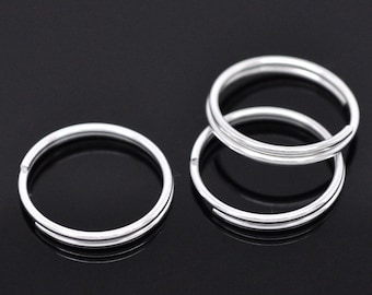 50pcs 16mm Silver Plated Split Ring - 18 Gauge, 18 g, Jewelry Finding, Jewelry Making Supplies, Chainmaille, Ships from USA - JR70-1