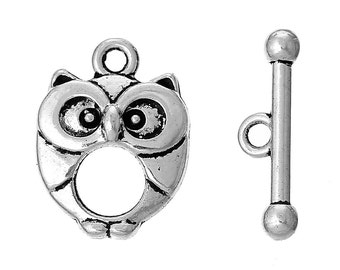 10pcs Antique Silver Owl Toggle Clasp - 20x15mm & 21x6mm - Jewelry Finding, Jewelry Making Supplies, DIY, Necklace, Ships from USA - C60