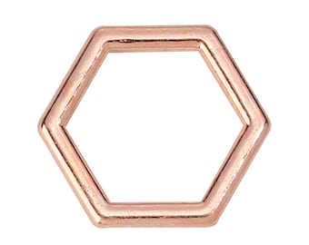 5pc Rose Gold Plated Honeycomb Charms - 12x10mm - Connector, Hexagon, Necklace, Jewelry Making Supplies Finding, Ships from USA - N9