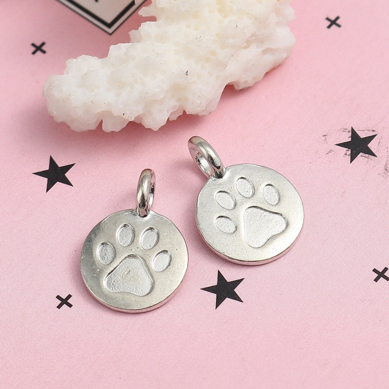2pcs Silver Tone Dog Paw Pendant Connector 16x11mm Cat RIP Remembrance Jewelry Making Jewelry Finding Ships from USA Pet Charm A24