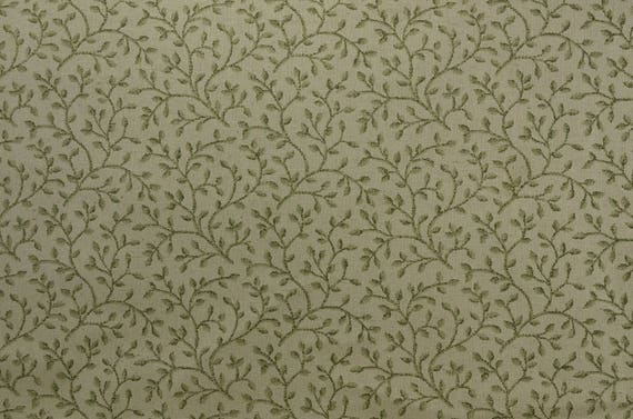 Home Decor Fabrics By The Yard: Cotton Home Decor Fabric By The Yard Green Fabric Ecru