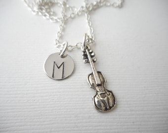 Violin -Initial Necklace/ Gift for, musical instruments, music band, gift for music lover, Violin recital Gift, Gifts for Violin player