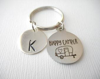Happy Camper Initial Keychain Camp Counselor Hiking Outdoors Mountains Fun Gift Unique Birthday New Camping