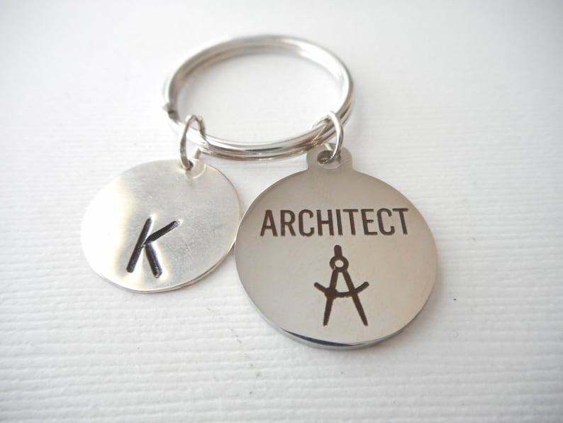 gift idea graduation college Architect jewelry for architects Architect -Initial Keychain Architecture Student Architect graduate gift