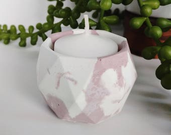 PINK Marbled Concrete Candle Holder, Marbled Concrete Mini Planter, Marbled Concrete Bowl