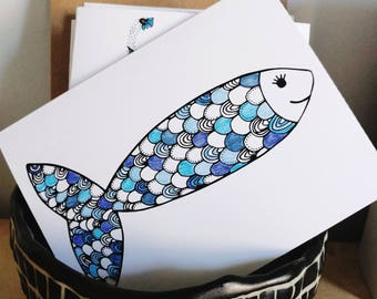 Geometric Fish Coloring Greeting Card/Just Because, Thank You, Mother's Day