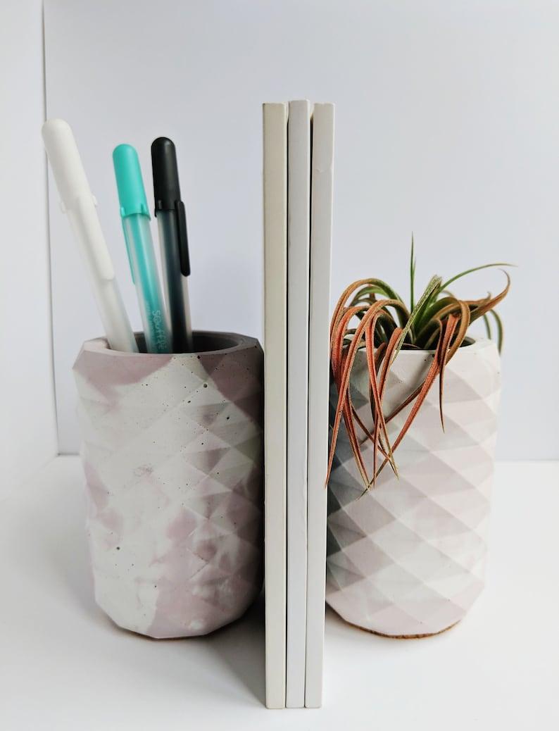 Blush Pink Marbled Concrete Pencil Cup Holder. Desk Organizer. image 0