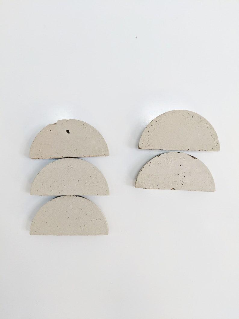 Concrete Magnets. Modern Half Moon Fridge Magnets. Minimalist image 0