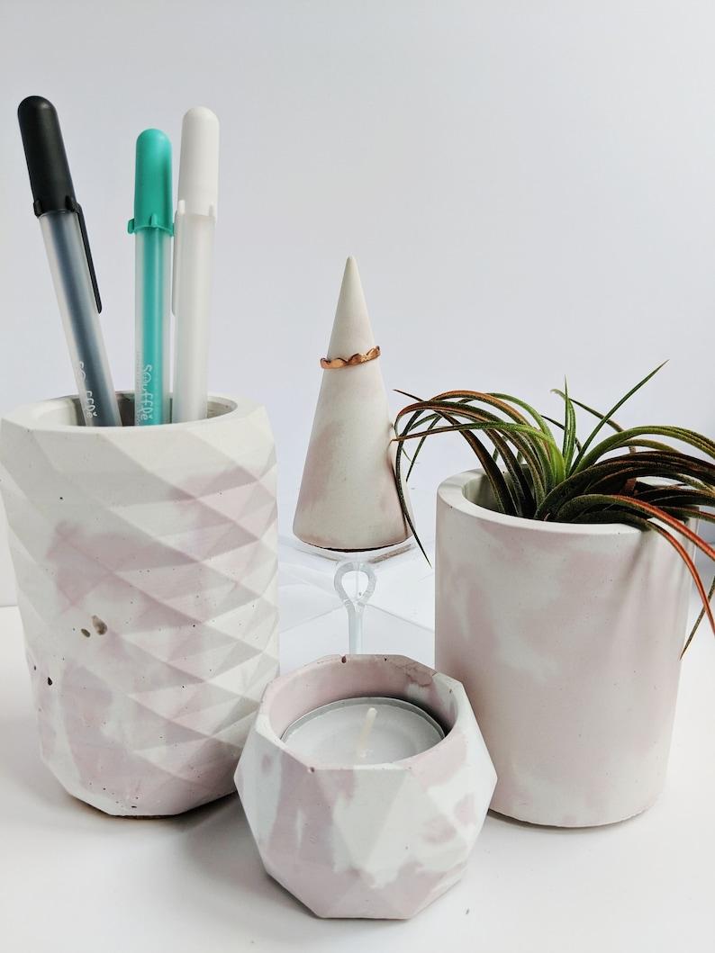 Pink Marbled Concrete Desk Organizer Set. Concrete Dishes for image 0