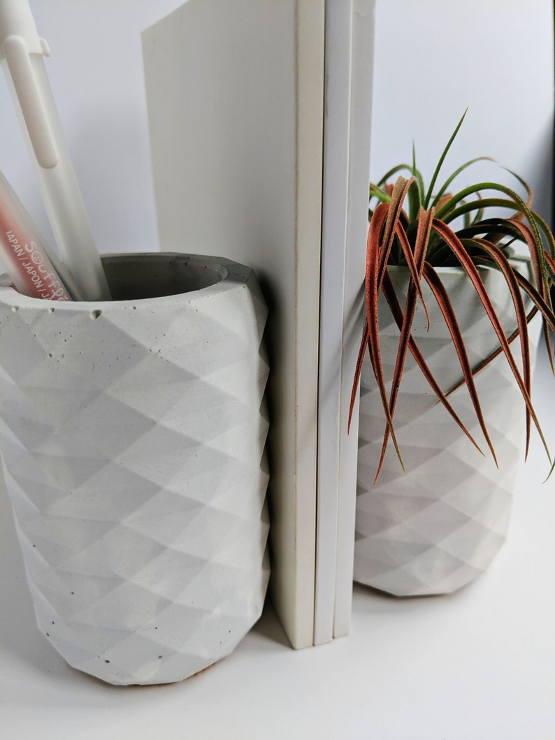 Gray Marbled Concrete Pencil Cup Holder. Modern Bookend. image 0