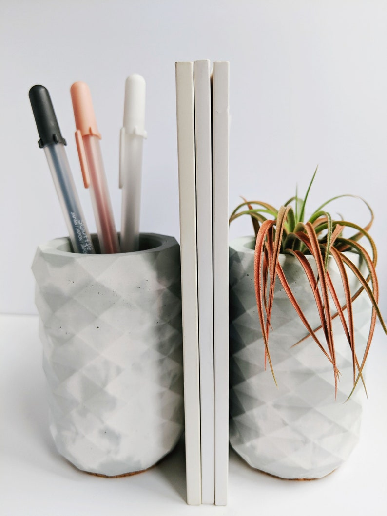 Sage Green Marbled Concrete Pencil Cup Holder. Modern Desk image 0