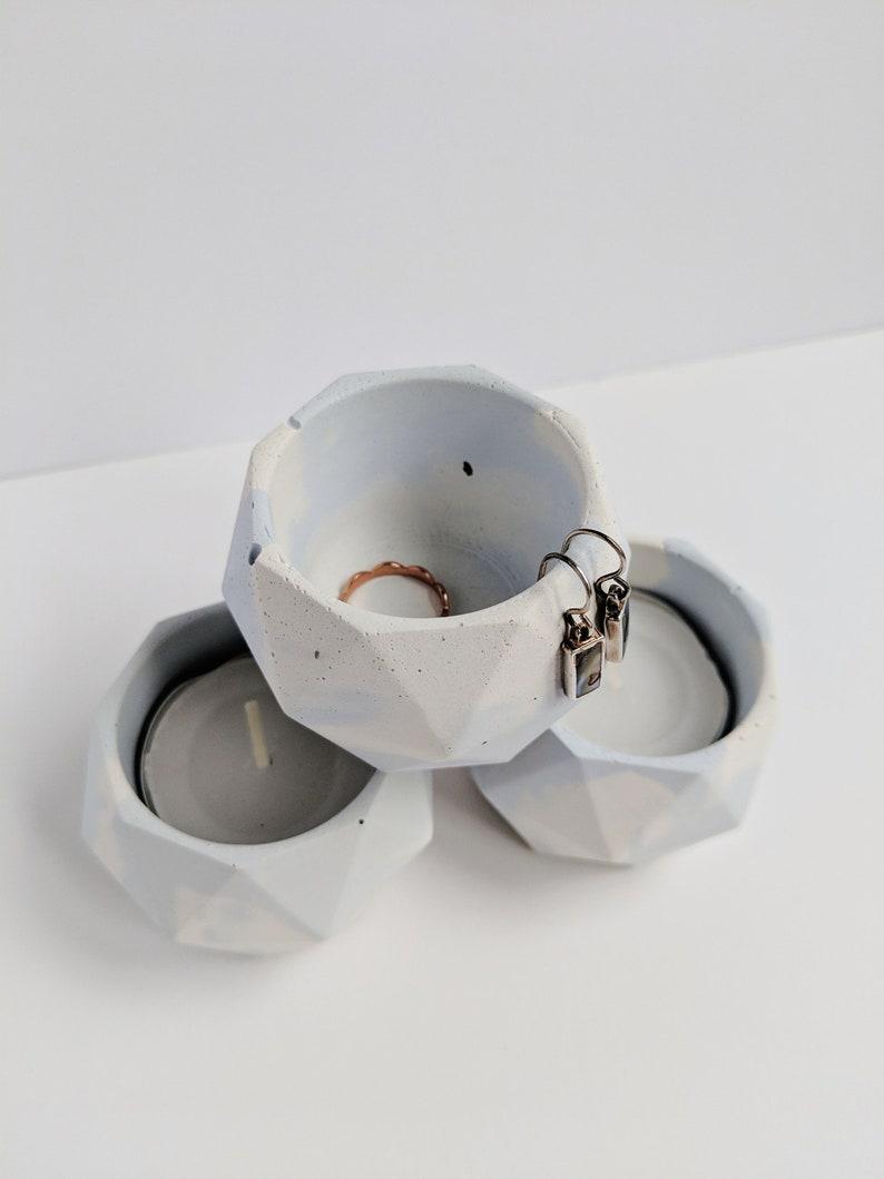 Light Blue Marbled Concrete Candle Holder. Gifts under 20. image 0
