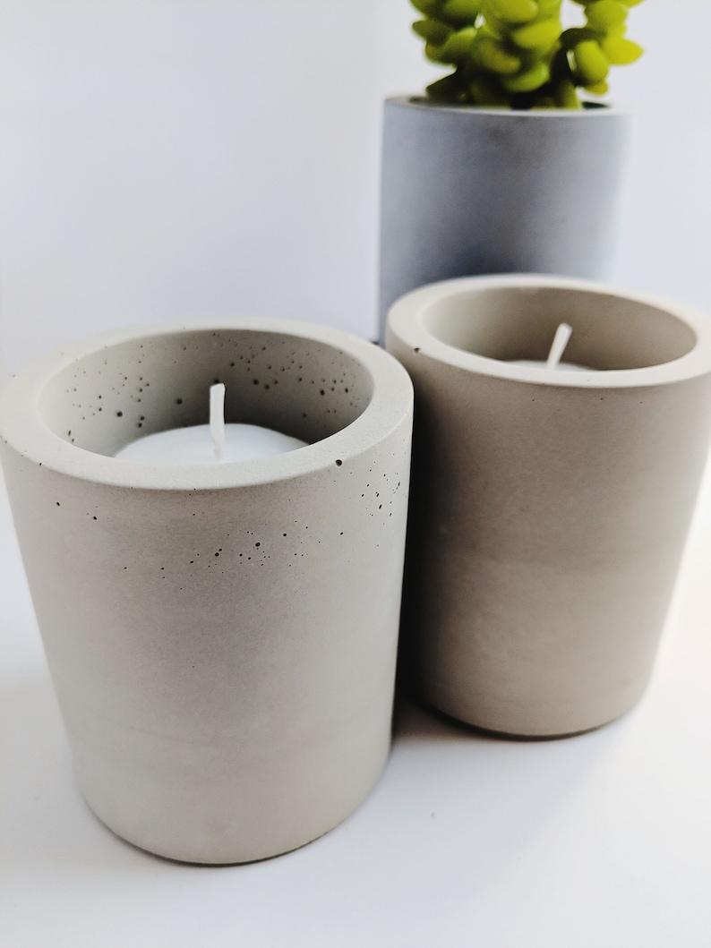 Concrete Candle Holder Set. Air Plant Holder Set. Minimalist image 0