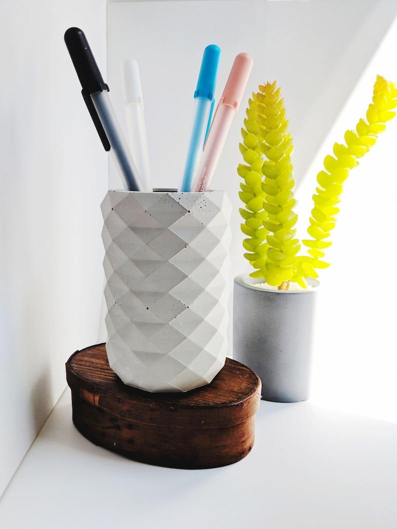 Geometric Concrete Pencil Holder. Minimal Desk Decor. Concrete image 0