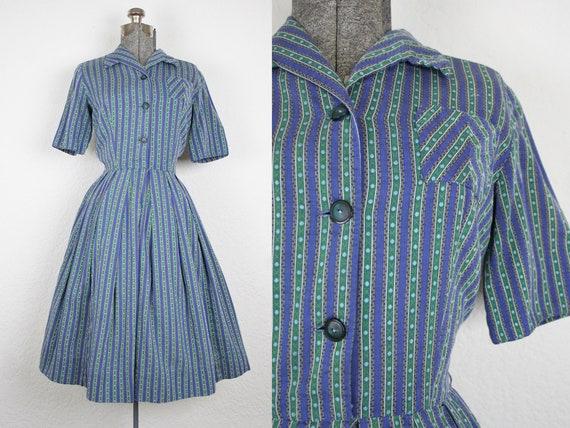 1950's Blue and Green Shirtwaist Dress / Size Medi