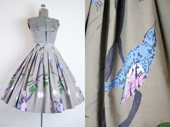1950's Bird Nest and Fruit Novelty Print Skirt / S