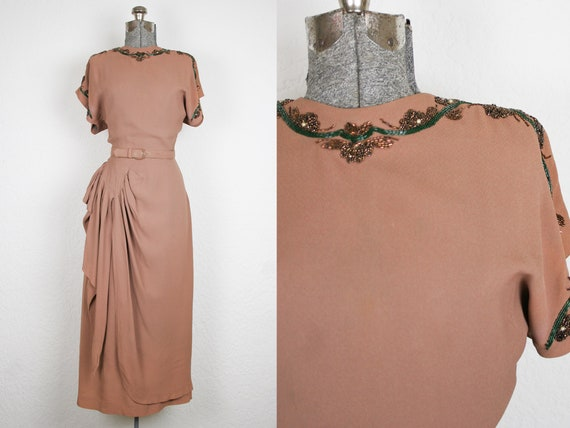 1940's Mocha Rayon Crepe Beaded Cocktail Dress / S