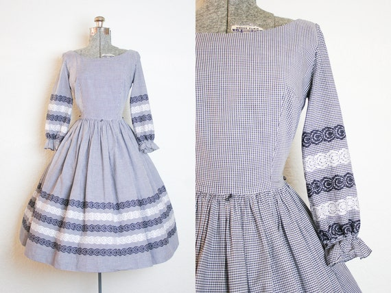 1950's Black and White Gingham Cotton Dress with E