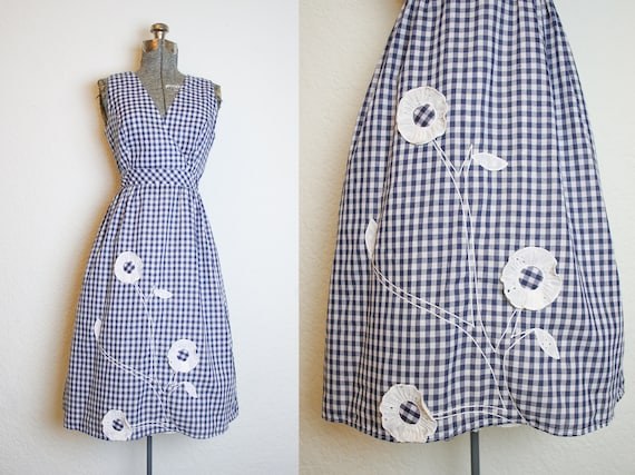 1980's Does 1950's Blue and White Gingham Swirl Da