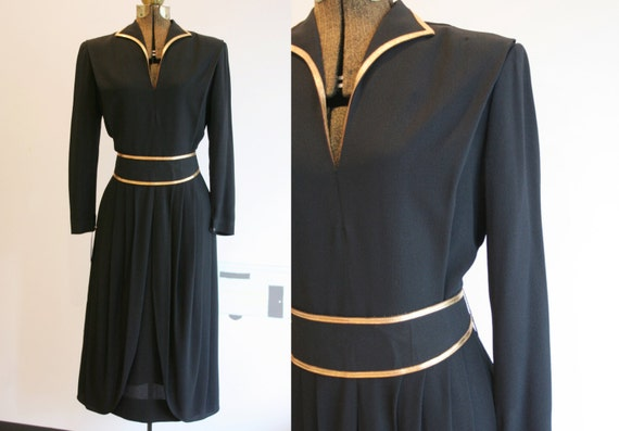 Vintage 1940s Rayon Dress / Mademoiselle Juliette
