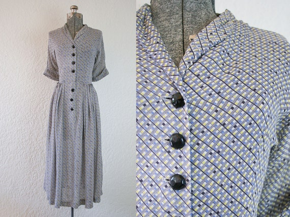 1940's Cold Rayon Geometric Print Day Dress / Size