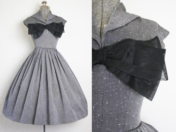 1950's Grey Speckled Gigi Young Party Dress / Size
