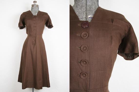 1940's Brown Linen Day Dress / Size Medium
