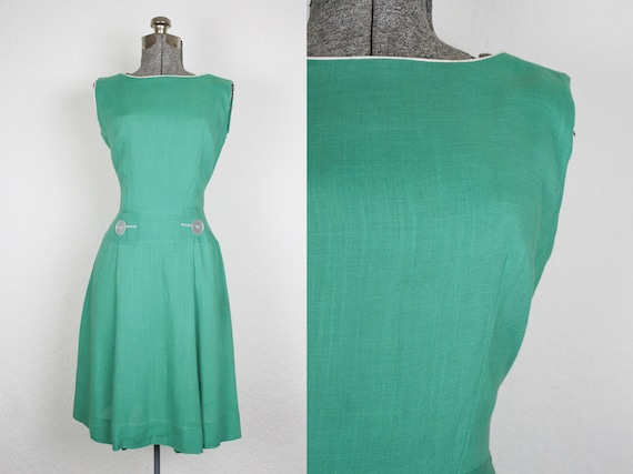 1960's Cotton Green Mod Scooter Dress / Size Small
