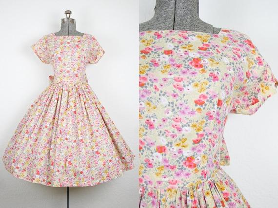 1980's Does 1950's Floral Print Cotton Sun Dress /