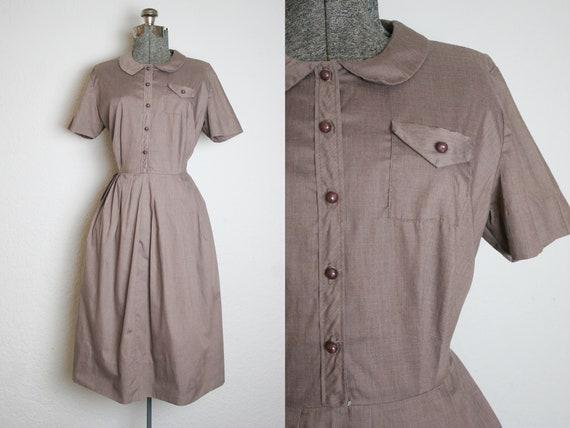 1950's Brown Shirtwaist Cotton Dress / Size Large