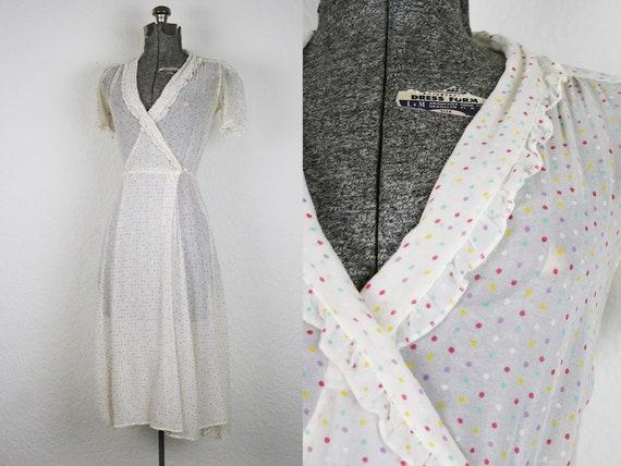 1970's Sheer Polka Dot Print Wrap Dress / Size Sma