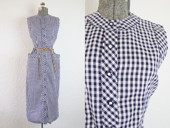 1950's Navy and White Gingham Plaid Wiggle Sun Dre