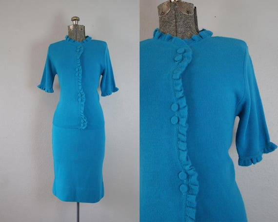 1950's Blue Knit Two Piece Set / Size Small
