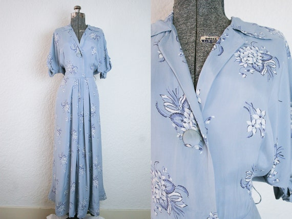 1940's Blue Floral Rayon House Maxi Dress / Size M